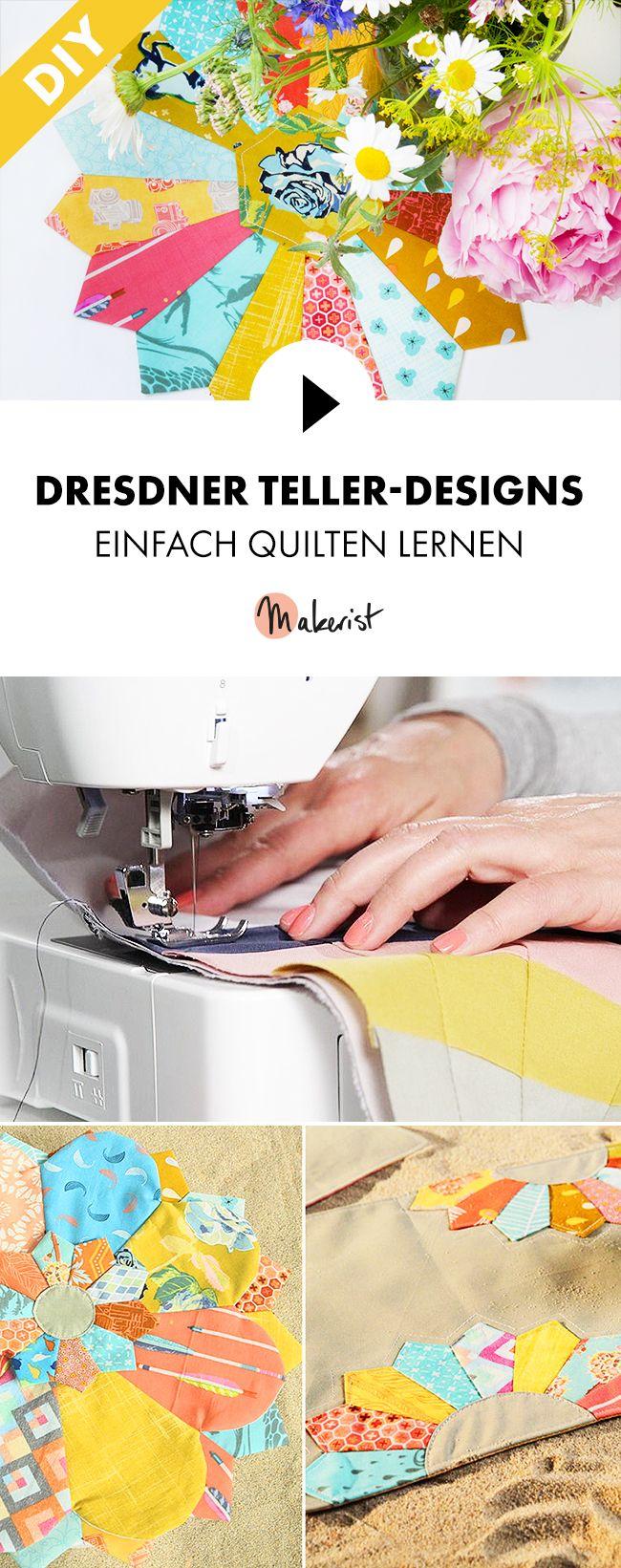 Dresdner Teller-Designs quilten lernen - Schritt für Schritt erklärt im Video-Kurs via Makerist.de