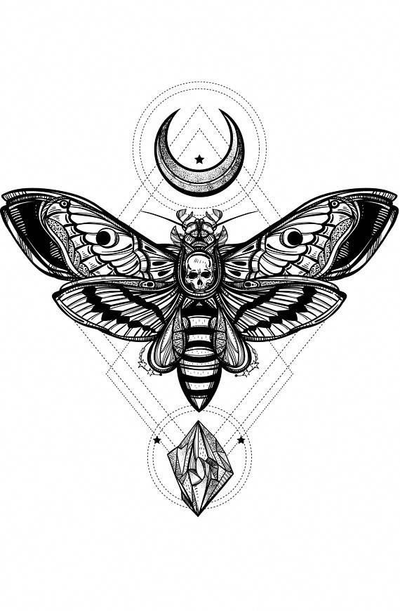 The Silence Of The Lambs Moth Moths Deaths Head Hawk Moth Attractivetattoos Moth Tattoo Occult Tattoo Geometric Tattoo Design