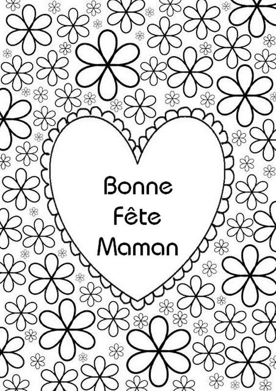 Coeur Bonne Fete Maman A Colorier Dessin Fete Des Meres Coloriage Fete Des Meres Carte Fete Des Meres Maternelle