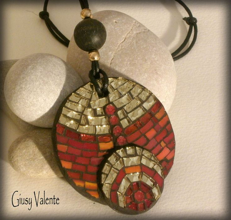 Mosaic to wear - Fire Pendant by GiusyValente on Etsy