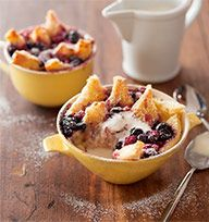 Frozen berry bread and butter pudding