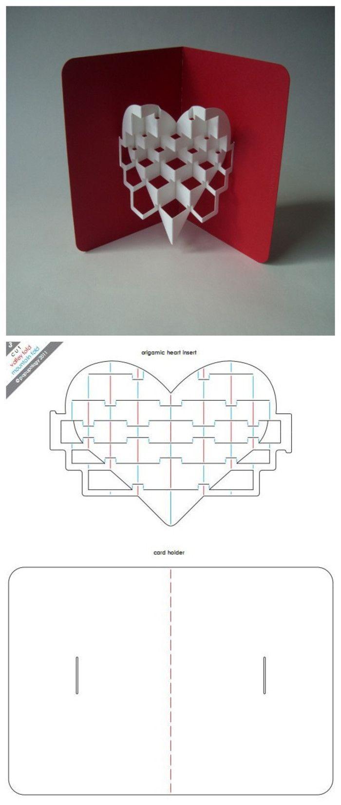 Наступающим, 3д открытка сердце схема