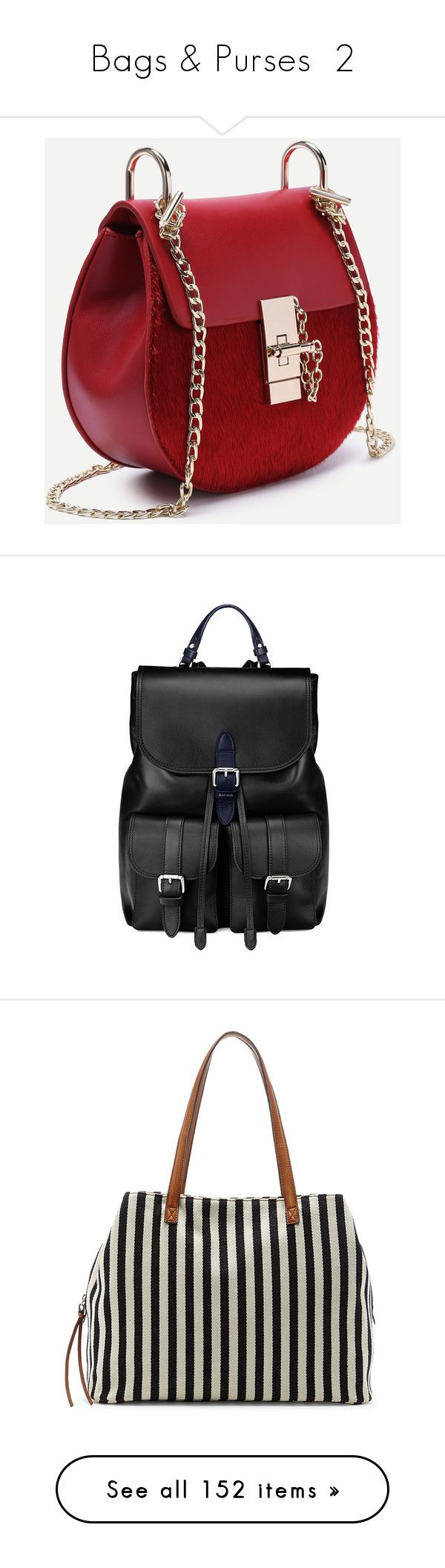"""""""Bags & Purses  2"""" by jillsjoyagol ❤ liked on Polyvore featuring bags, handbags, shoulder bags, pu purse, chain-strap handbags, red handbags, chain handle handbags, horse saddle bags, backpacks and accessories"""
