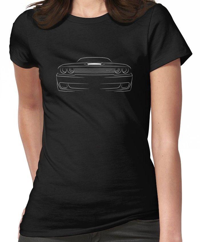 Dodge Challenger SRT Hellcat Classic White Muscle Car Design Tshirt NEW