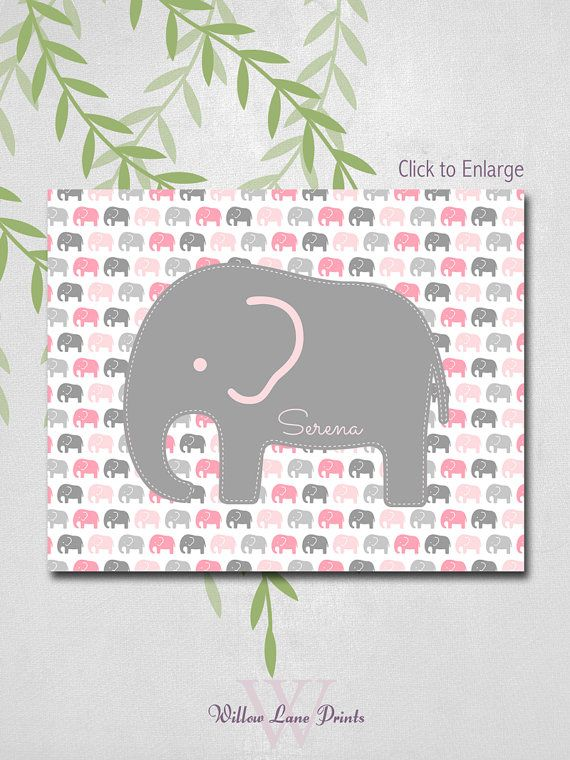 Pink Baby Elephant Nursery Decor Baby Girls by WillowLanePrints, $18.00