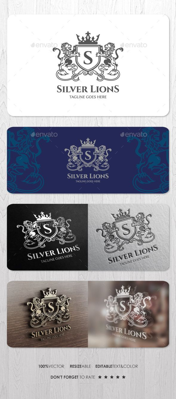 Silver Lions Logo — Vector EPS #kingdom #finance • Available here → https://graphicriver.net/item/silver-lions-logo/15316894?ref=pxcr