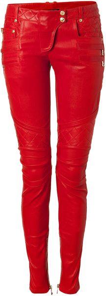 BALMAIN PARIS Lipstick Lowrise Skinny Leather Pants