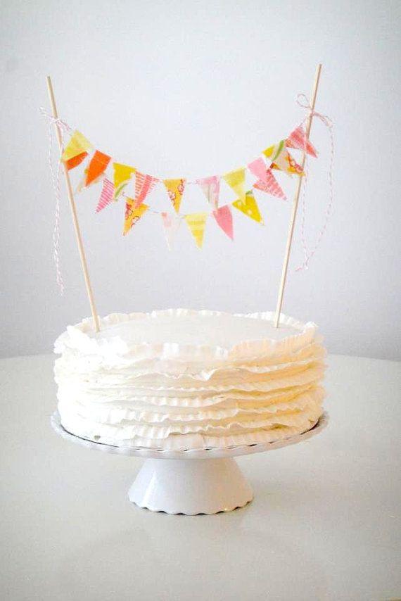 Pink Orange Cocktail Mix  Fabric Bunting Cake door AFeteBeckons, $16.00
