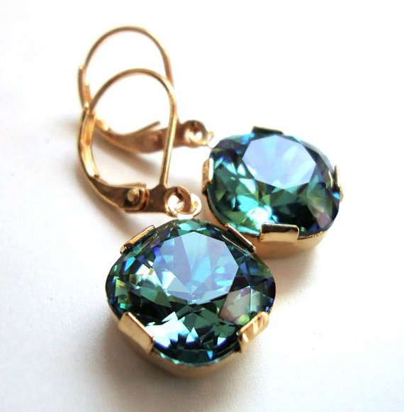 Swarovski Crystal Drop Earrings in Erinite: Drop Earrings, Crystal Drop, Green, Cushions, Swarovski Crystals, Jewelry, Clearly Swarovski, Cushion Cut