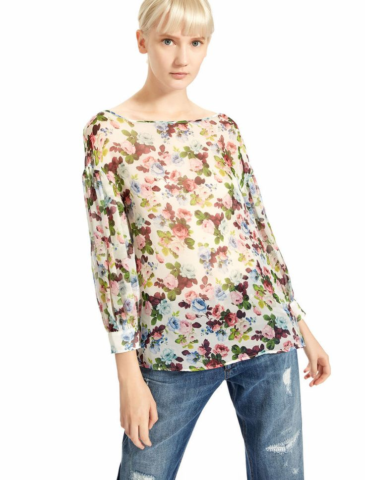Floral print chiffon blouse, white - Sportmax SPEDIZIONE GRATUITA!