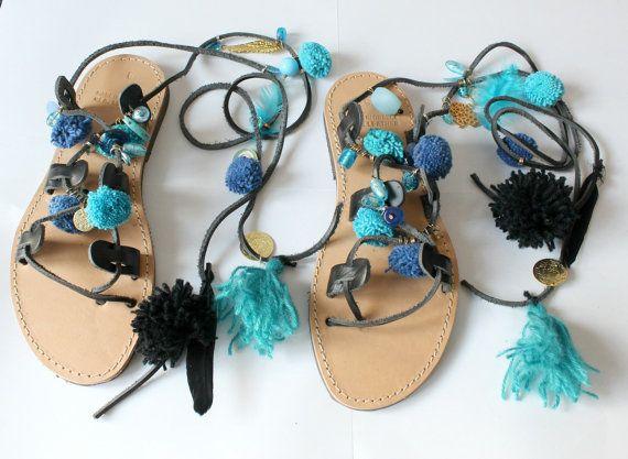 Gladiator Sandals/Lace up sandals/Boho/ by EATHINI on Etsy