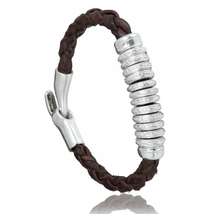 Bracelet homme cuir marron Rasa - Oclaf