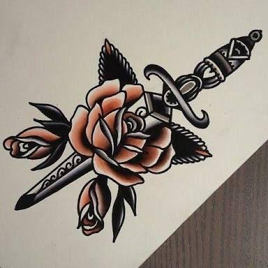 Resultado de imagen para knife with rose tattoo