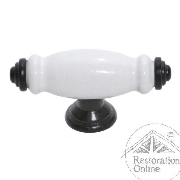 Tradco Black and White Porcelain 75mm Kitchen Handle - Porcelain 'T' Handle - 37mm…
