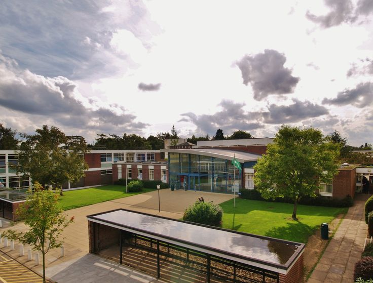 Northgate High School, Dereham. Norfolk. Russen & Turner were appointed Lead Designers to provide a new entrance and gallery space following the School being awarded Specialist Status. View of Entrance  and principle route into School.