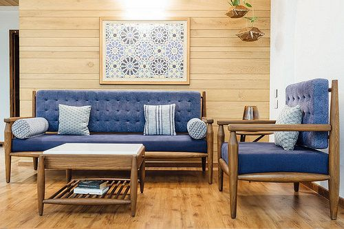 The Teak Wood Furniture In This Home Combines Traditional Purpose Modern Lifestyle Dress Your Home Furniture Design Living Room Sofas Furniture Design Living Room Living Room Sofa Design