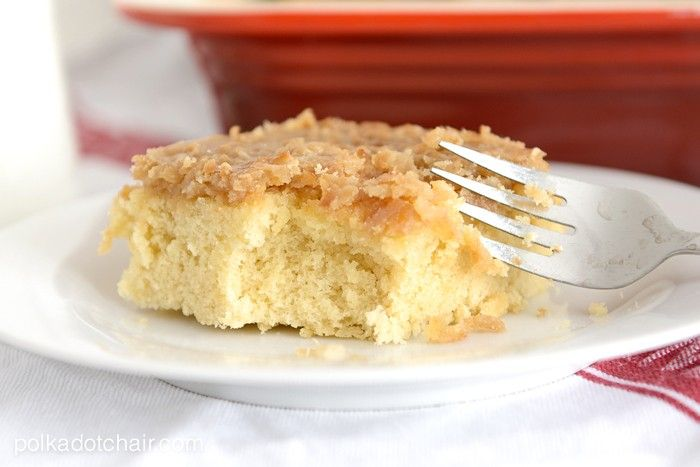 Ingredients      4 Eggs     2 C. Sugar     2 1/4 C. Flour     2 1/4 t. Baking Powder     1 t. Vanilla     1 1/4 C. Milk     10 T. Butter     Topping:     6 T. Butter     2/3 C. Brown Sugar     1/4 C. milk     1 C. Coconut     1/2 t. Vanilla  Instructions  In a mixer, beat the eggs until thick. About 5 minutes. Gradually add the sugar. In a separate bowl combine the flour and baking powder. Mix together, and gradually add to the egg mixture. In a sauce pan heat the milk and ...