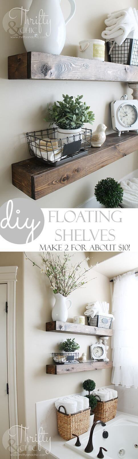 DIY Floating Shelves by Thrifty and Chic DIY Farmhouse Decor Projects for Fixer Upper Style