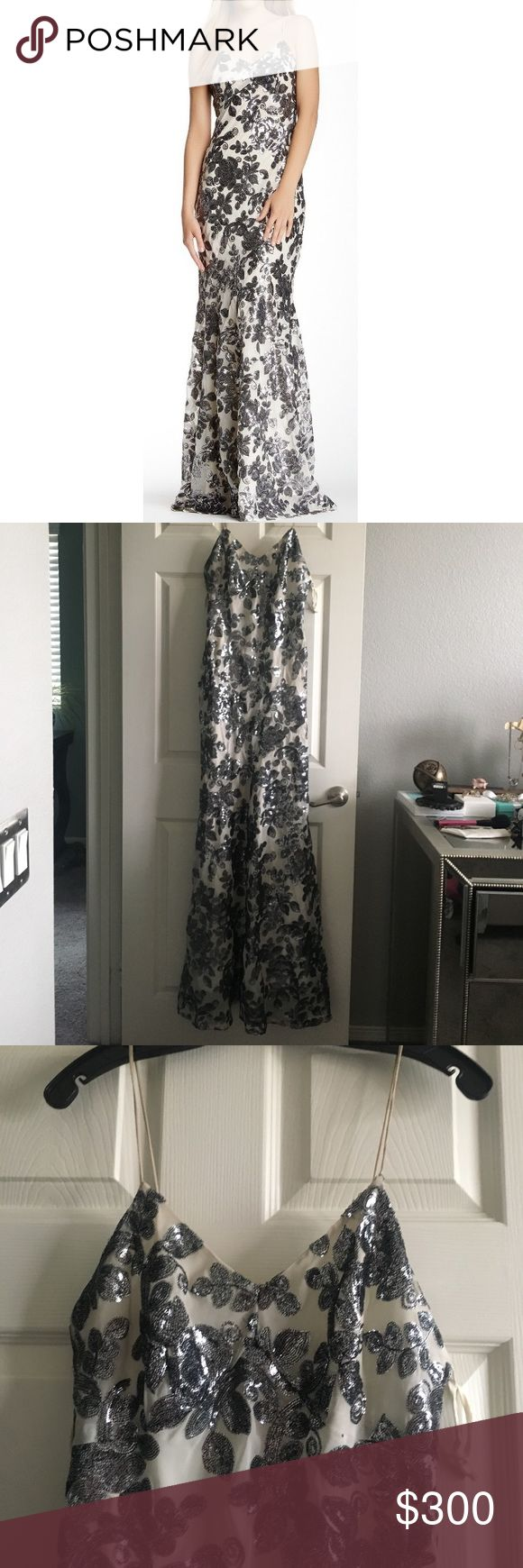 Zac Posen FloralSequins Dress Floral Grey sequins with black stitching long evening gown beautiful only worn once spaghetti straps can be worn for prom a wedding or a gorgeous evening dress Zac Posen Dresses Maxi