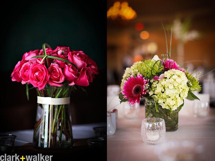 Wedding centerpieces roses hydrangea gerber daisy pink