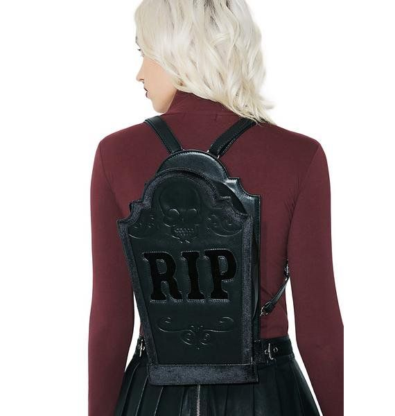 Current Mood Tombstone Bag will let your enemies know what you're capable of. This sikk bag has a tombstone shape, top zipper closure, and removable backpack straps.  #dollskill #halloween #backpack #gothic #punk