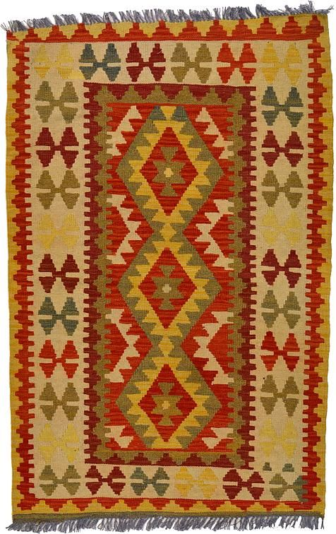 Orange 3' 4 x 5' 1 Kilim Maymana Rug | Area Rugs | iRugs UK
