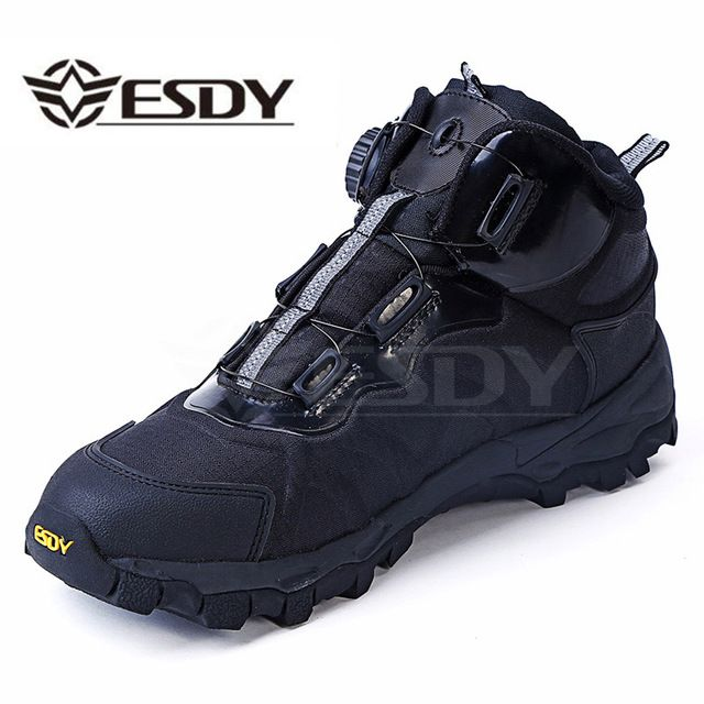 Hot Sale $45.80, Buy Men Tactical Military Boots Winter Leather Lace Up Combat Army Ankle Boots Mens Flat Safety Work Shoes