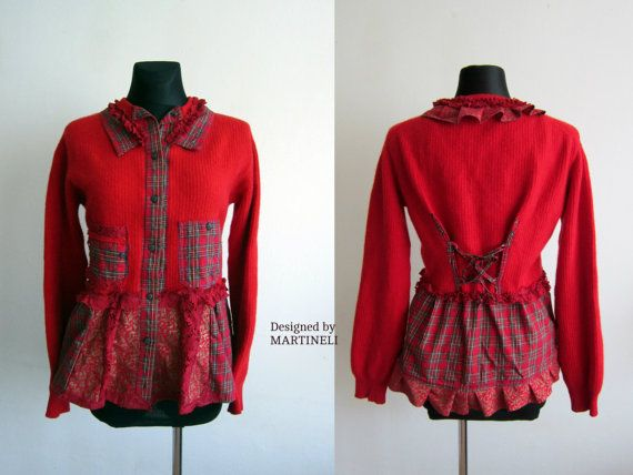 Red Recycled Sweater Reconstructed Sweatshirt Flannel by MARTINELI