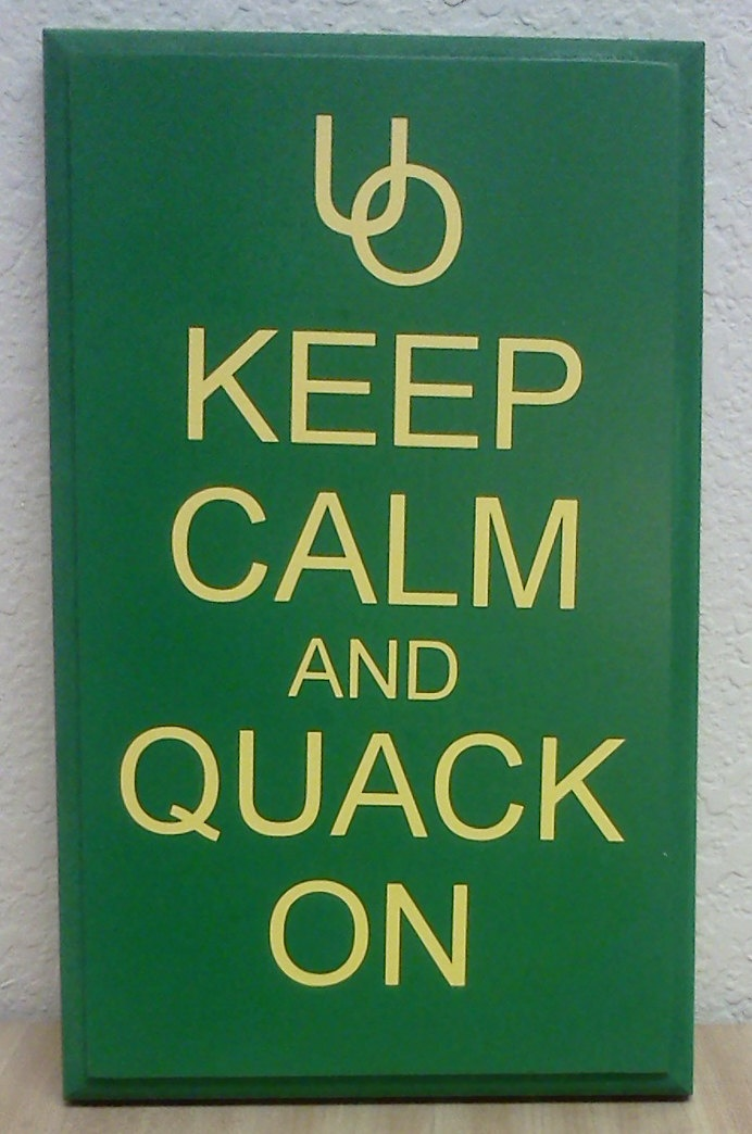 Oregon Ducks Wall Sign --- Canvas, paint and letters. Paint canvas yellow, dry, place lettering, paint green, dry, pull up letter stickers. I've got this!