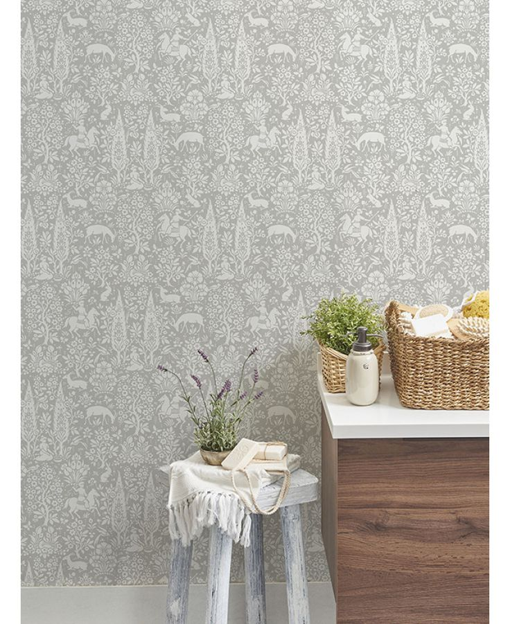 The Crown Archives Woodland Wallpaper offers traditional, intricate forest themed patterns in a soft grey tone. Free UK delivery available