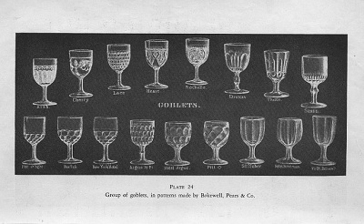 1933 Print * 1840s Bakewell Pears + Co * GOBLETS ~ 17 Different Patterns Glassware