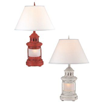 The nautical inspired Ships Lantern Lamp is 27 inches tall.  It features a antique looking ships lantern. Also has night light feature.  Lamp Shade color:  White  Shade Measures:8x17x11 inches  Select red or white