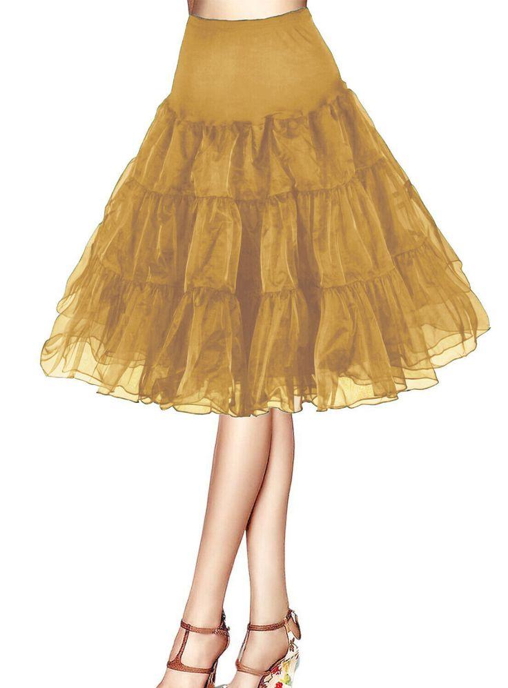 安いエレガントな安い50 sペチコートロカビリーチュチュゴールドunderskirts衣装イブニングハーフスリップスカートチュールダンスドレス用女性、購入品質ペチコート、直接中国のサプライヤーから:製品写真  カラーチャート: サイズチャート: 測定intruction: サイズを必要とバスト=_____,ショルダー=_____,アーム長さ=_____,袖ぐり= _ _ _。