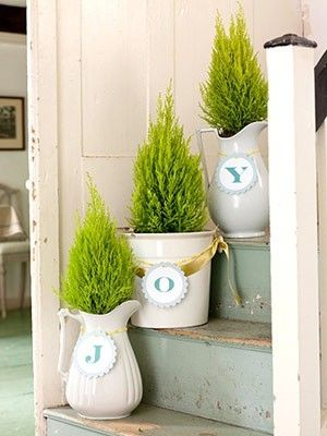 Place small evergreen trees in white pitchers, pots or pails. Create tags in your Christmas colors and tie with coordinating ribbon to create a phrase like Joy or Noel.: Decor Ideas, Stairs, Cottages Christmas, Holidays Decor, Christmas Decor, Christmas Trees, Christmas Ideas, Front Porches, Front Step