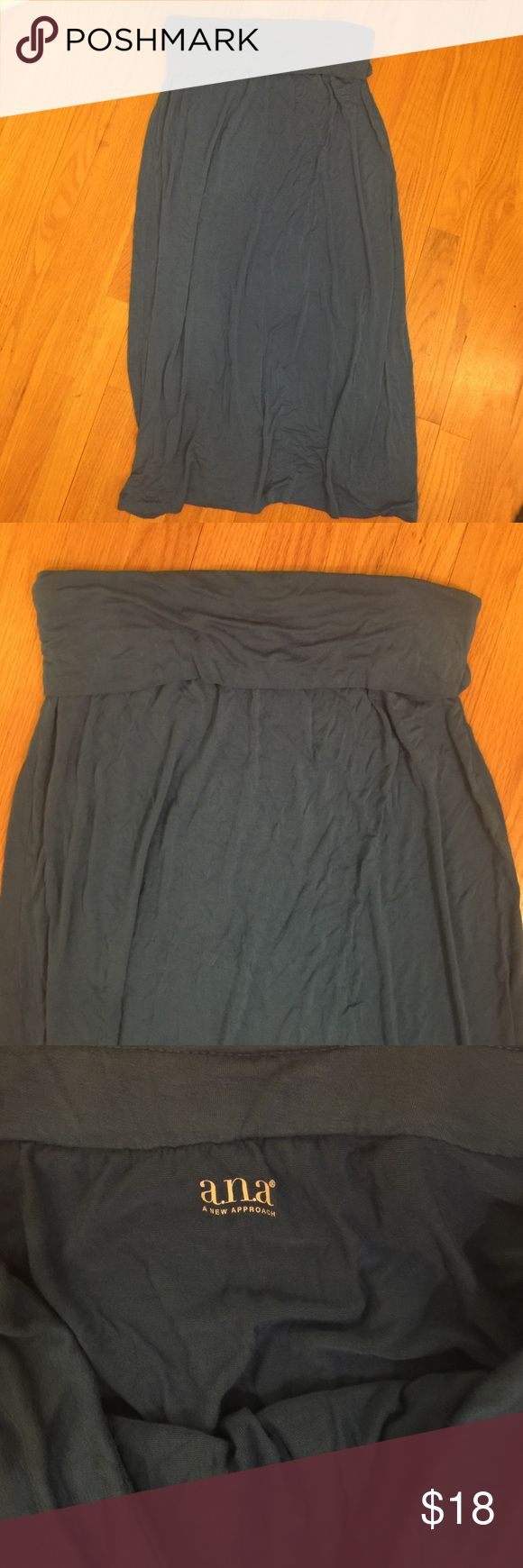 """Women's a.n.a Blue Maxi Skirt Size L Women's a.n.a Blue Maxi Skirt Size Large. 95% Rayon, 5% Spandex. Great condition. Measures approx 35"""" long. No slits. a.n.a Skirts Maxi"""