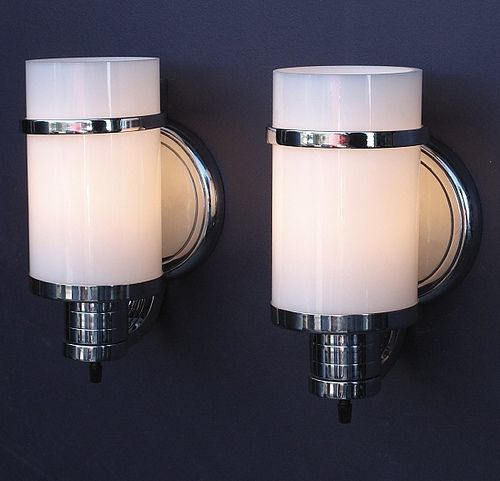 Super Stylish Vintage Bathroom Wall Sconces With Original Glass And  Original Polished Chrome Finish.