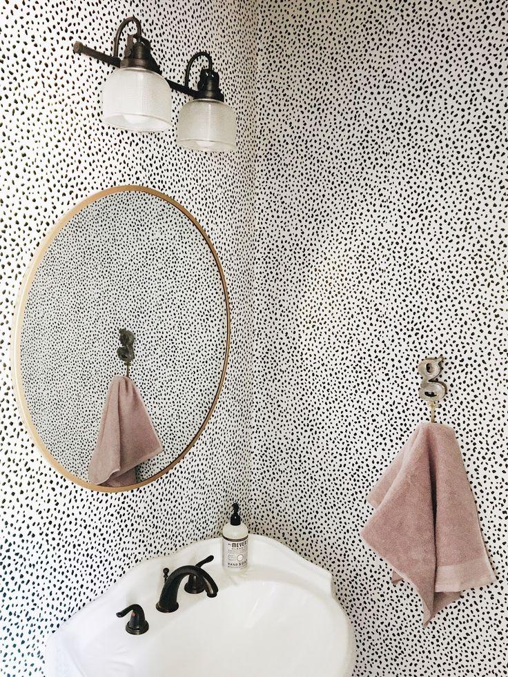 Garvin and Co.: Powder Bath Refresh // that dotty wallpaper // brass mirror