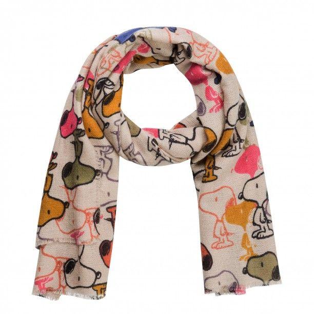 f92cdf588db8b Flauschiger Schal mit Peanuts Snoopy beige