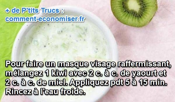 recette pour un masque maison raffermissant à la vitamine c avec du kiwi, du miel et yaourt