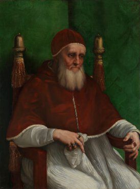 Raphael (Raffaello Sanzio), 1483-1520, Italian, Portrait of Pope Julius II, c.1511.  Oil on poplar, 108.7 x 81 cm.  National Gallery, London.  High Renaissance.