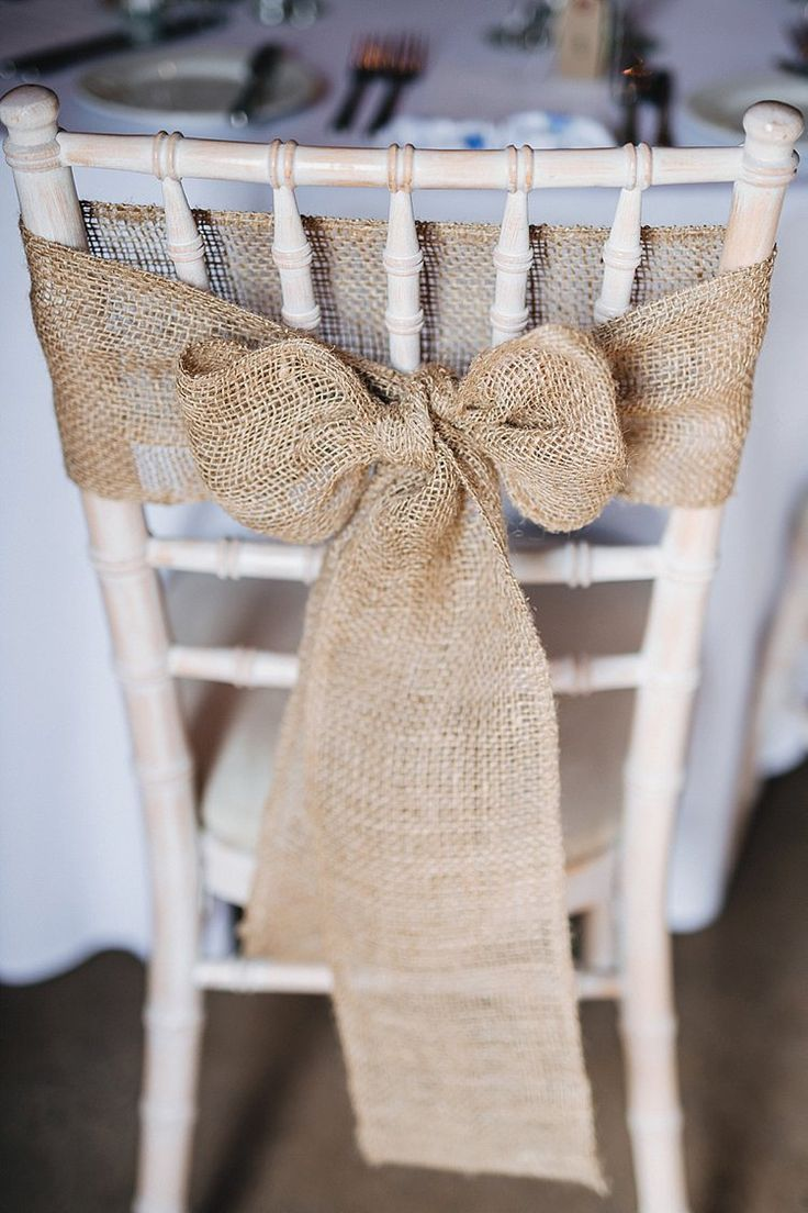 Wedding ceremony chair - Hessian Chair Decor Bow Pretty Blue Barn Wedding Sea South Wales Http Www