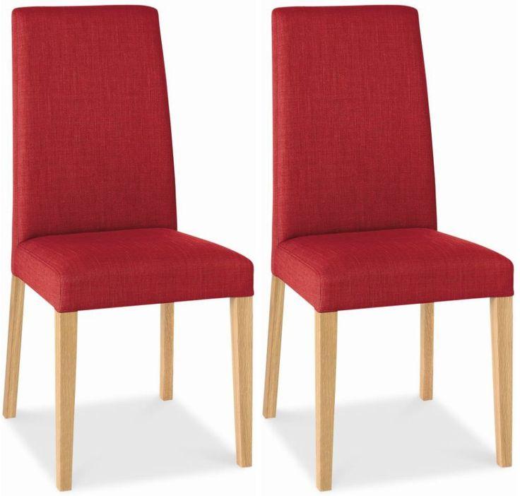 Bentley Designs Miles Oak Dining Chair - Red Taper Back (Pair)
