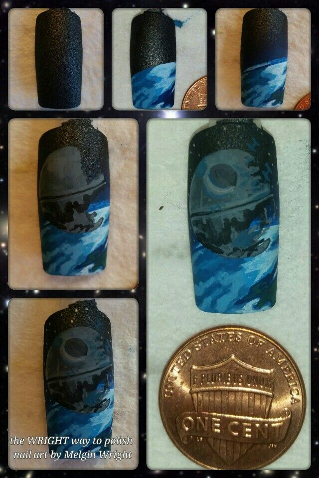 Star Wars/ Death Star step by step  hand painted nail art by Melgin Wright!http://www.facebook.com/TheWrightWayToPolishNailArtByMelginWright