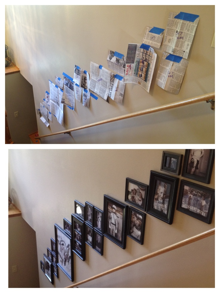 Stairway photo collage. Use newspaper before committing to your layout!