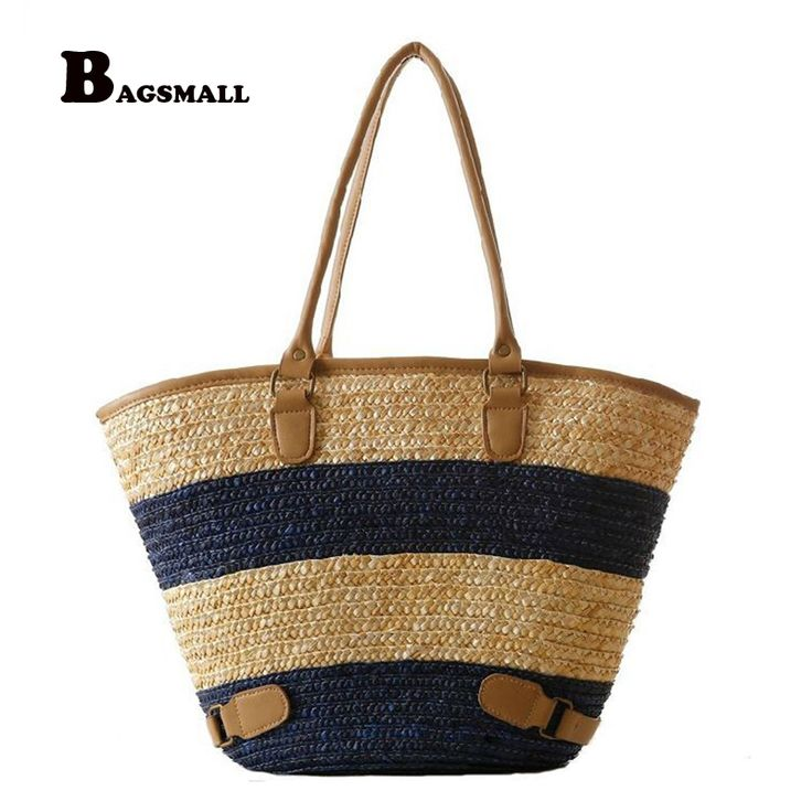 BAGSMALL Brand Knitted Straw Bag Summer Holiday Lady Woven Beach Bag For Travel Striped Pattern Women HandbagGirl Shoulder Bag