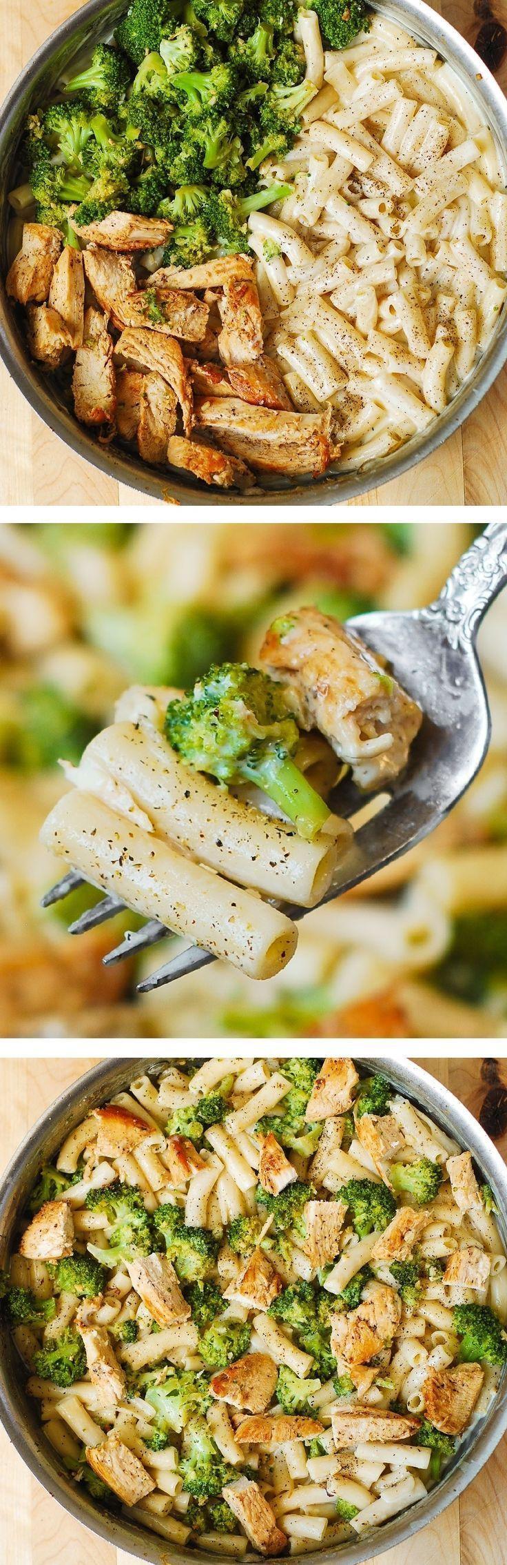 Chicken Broccoli Alfredo Penne Pasta  With homemade white cheese cream sauce.