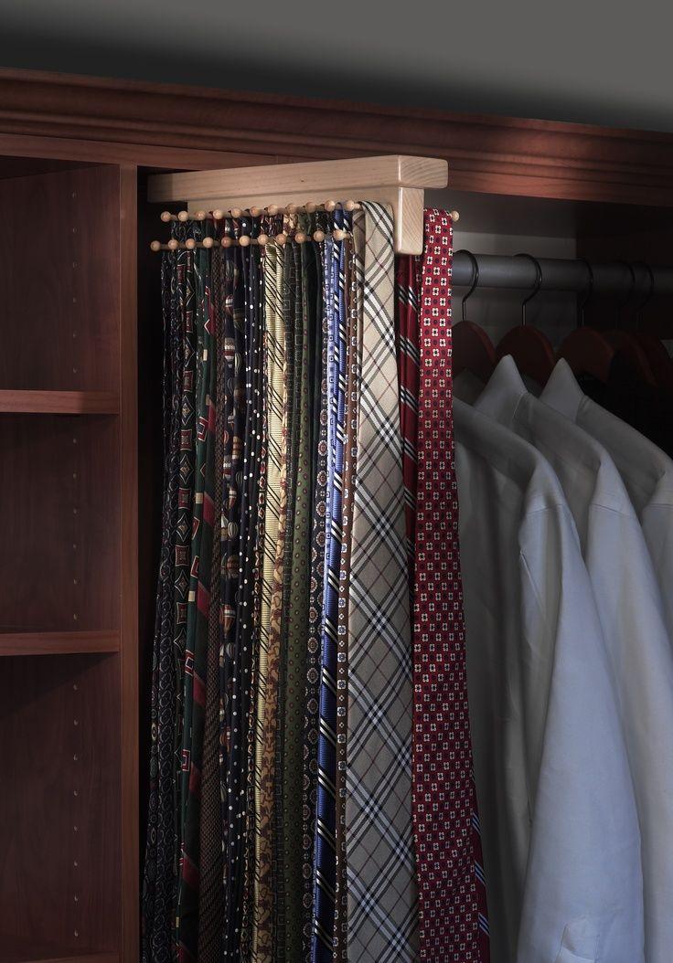Saint Louis Closet Co. Tie Butlers add extra tie storage to dad's closet.