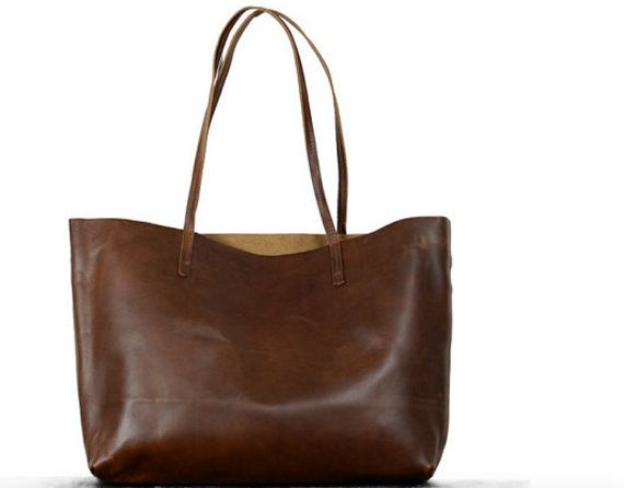 Jumbo size brown or black distressed genuine leather shopper tote bag