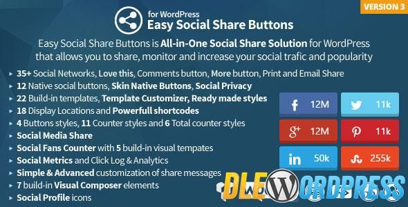 Easy Social Share Buttons for WordPress v3.2.1 Free at DLEWordPRess