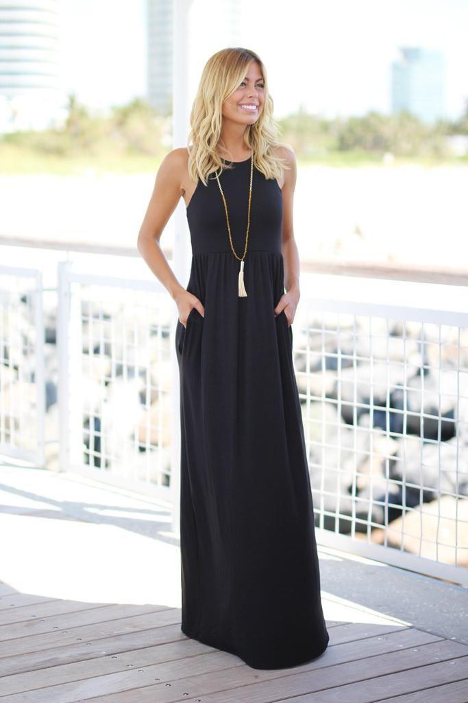 Black Maxi Dress with Pockets